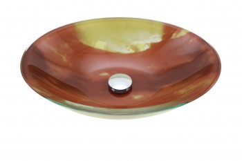 Tempered Glass Vessel Sink with Drain, Orange Sunset Oval Bowl Sink12889grid