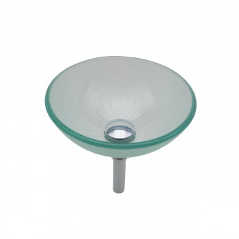 Mini Tempered Glass Vessel Sink with Drain, Frosted Green Textured Bowl Sink bathroom vessel sinks Countertop vessel sink Glass Bathroom Sink