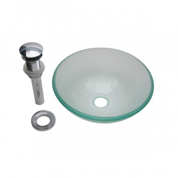 <PRE>Mini Tempered Glass Vessel Sink with Drain, Frosted Green Textured Bowl Sink</PRE>zoom7