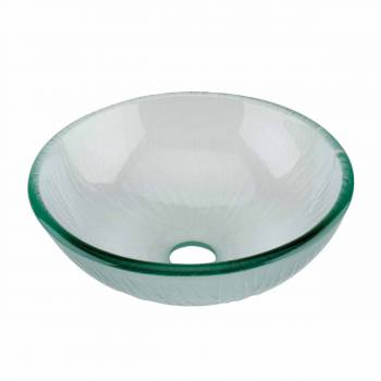 Mini Tempered Glass Vessel Sink with Drain, Frosted Green Textured Bowl Sink 12890grid