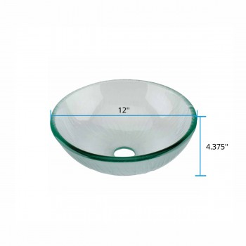 spec-<PRE>Mini Tempered Glass Vessel Sink with Drain, Frosted Green Textured Bowl Sink</PRE>