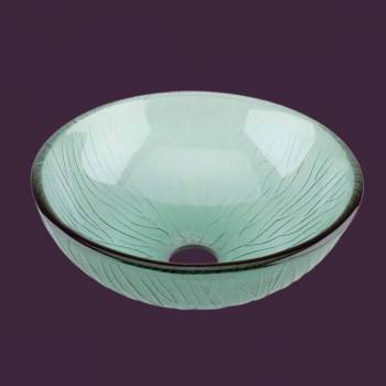Glass Sinks - Mini Branch - Textured Frosted Green Glass Vessel Sink - Round by the Renovator's Supply