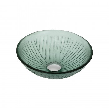 Glass Vessel Sink with Drain Frosted Green Tempered Glass Mini Bowl Sink12891grid