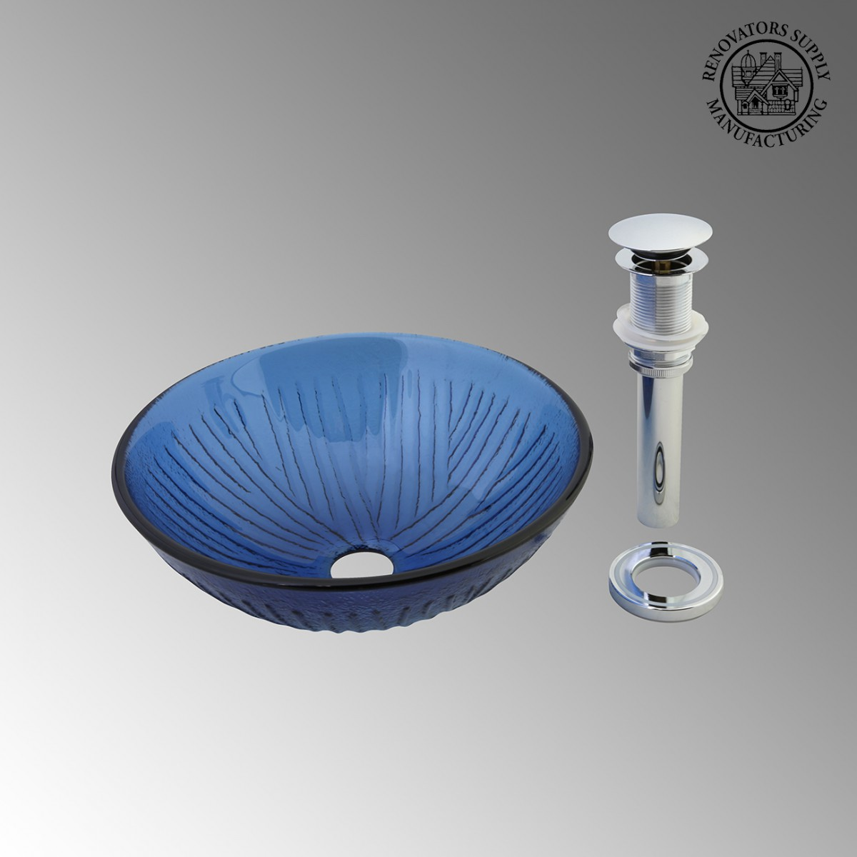 Bathroom Frosted Blue Tempered Glass Vessel Sink Round Bowl With Drain