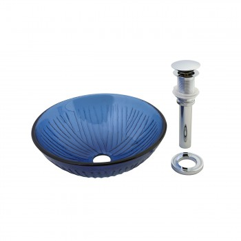 <PRE>Renovator's Supply Blue Frosted Tempered Glass Sink Bathroom Vessel Round</PRE>zoom1