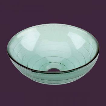 spec-<PRE>Glass Vessel Sink with Drain Tempered Glass Mini Bowl Sink </PRE>
