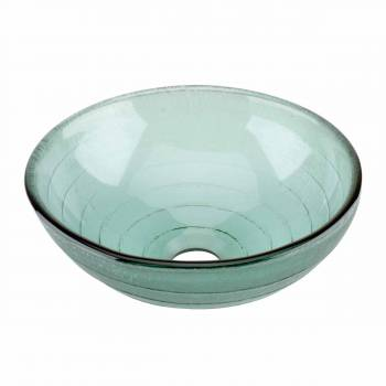 Glass Vessel Sink with Drain Frosted Green Tempered Glass Mini Bowl Sink Circle 12895grid