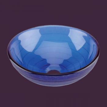 Mini Vessel Sink with Drain Frosted Blue Tempered Glass Circle Design Bowl Sink bathroom vessel sinks Countertop vessel sink Glass Bathroom Sink