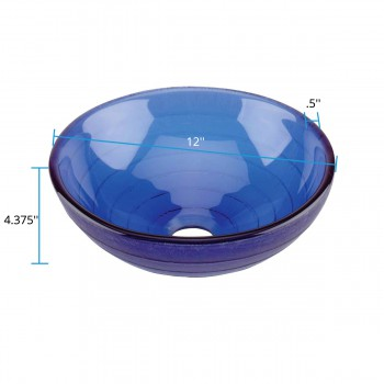 spec-<PRE>Mini Vessel Sink with Drain Frosted Blue Tempered Glass Circle Design Bowl Sink </PRE>