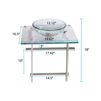 Glass Sinks - Children's Glass Console Sink Wash Station Clear by the Renovator's Supply