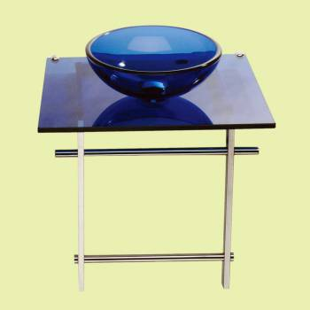 Glass Sinks - Children's Glass Console Sink  Wash Station Blue by the Renovator's Supply