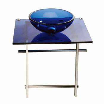 Children Bathroom Console Sink Blue Glass Vanity Wall Mount 12904grid