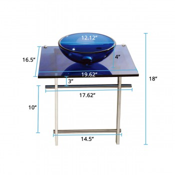 spec-<PRE>Children Bathroom Console Sink Blue Glass Vanity Wall Mount </PRE>