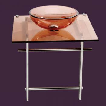 spec-<PRE>Children Bathroom Console Sink Amber Glass Vanity </PRE>
