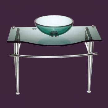 Glass Sinks - Little Lagoon Children's Glass Console Sink Green by the Renovator's Supply