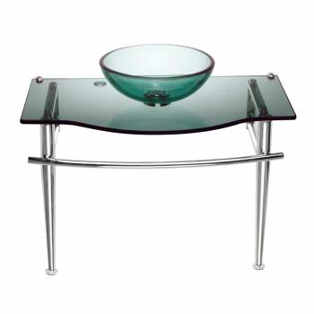 Children Bathroom Console Sink Green Glass Vanity 12911grid