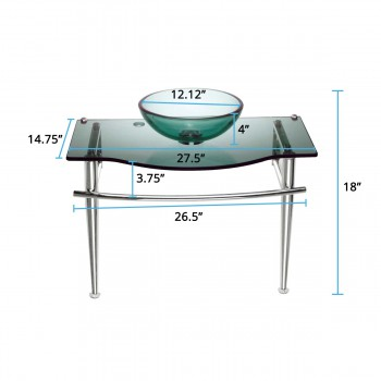 spec-<PRE>Children Bathroom Console Sink Green Glass Vanity </PRE>