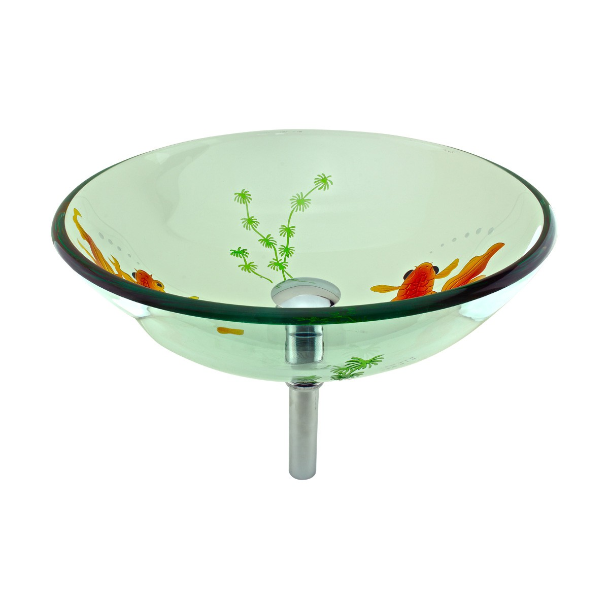 Tempered Glass Vessel Sink With Drain, Clear Single Layer With Koi Fish  Painted