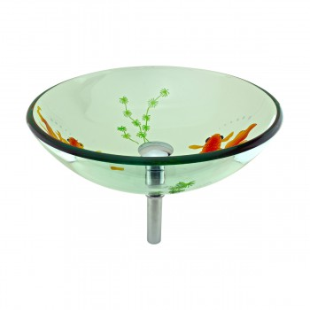 <PRE>Tempered Glass Vessel Sink with Drain, Clear Single Layer with Koi Fish Painted</PRE>zoom3
