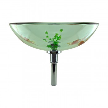 <PRE>Tempered Glass Vessel Sink with Drain, Clear Single Layer with Koi Fish Painted</PRE>zoom4