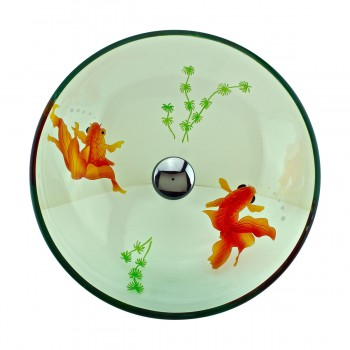 <PRE>Tempered Glass Vessel Sink with Drain, Clear Single Layer with Koi Fish Painted</PRE>zoom9