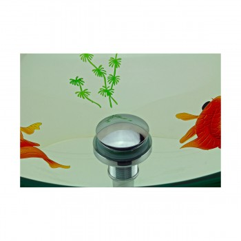 <PRE>Tempered Glass Vessel Sink with Drain, Clear Single Layer with Koi Fish Painted</PRE>zoom10