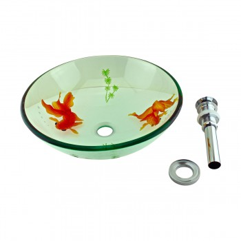 Tempered Glass Vessel Sink with Drain, Clear Single Layer with Koi Fish Painted12919grid