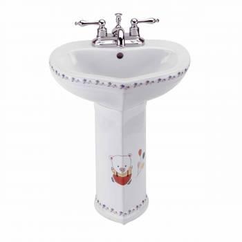 Children's Pedestal Sink White China Wash Station Bear 12921grid