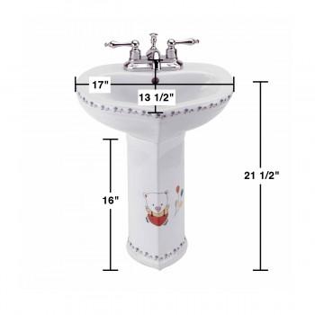 spec-<PRE>Children's Pedestal Sink White China Wash Station Bear </PRE>