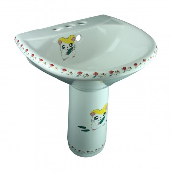 Children Pedestal Sink Painted Porcelain Chippy Mouse Kids Unique Bathroom Sets Childrens sink Modern Rectangle Pedestal Sink
