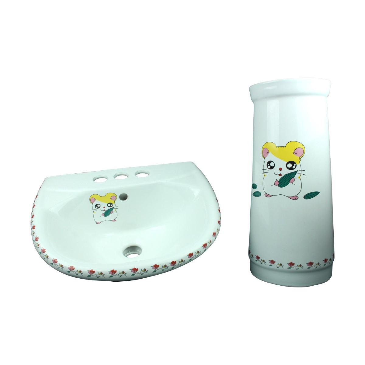 Children Pedestal Sink Painted Porcelain Chippy Mouse Kids Unique Bathroom Sets Childrens sink Modern Rectangle Pedestal Sink