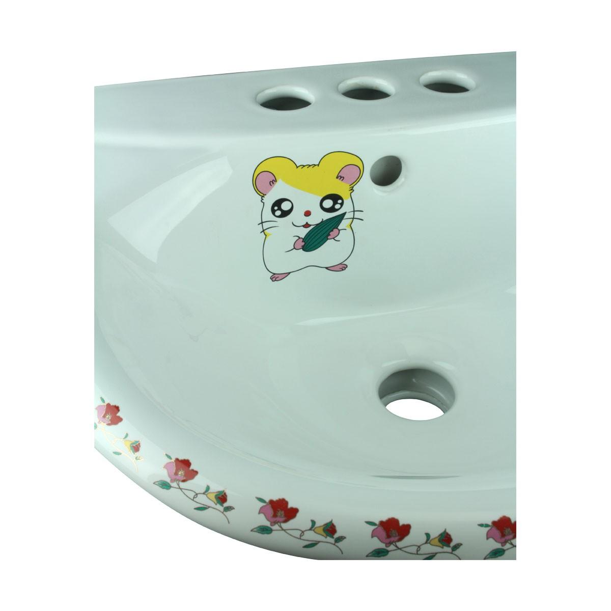 Chippy Mouse Child Size White Pedestal Sink   Pedestal Sink For Kids  Bathroom