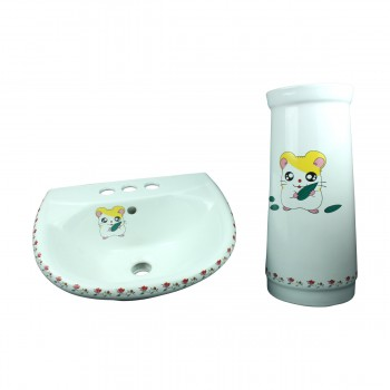 <PRE>Children Pedestal Sink Painted China Chippy Mouse </PRE>zoom7