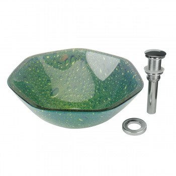 Tempered Glass Vessel Sink with Drain, Green Heptagon Double Layer Bowl Sink 12936grid