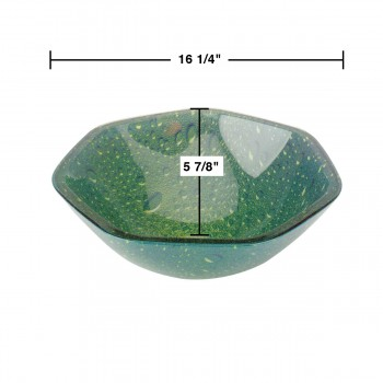 spec-<PRE>Tempered Glass Vessel Sink with Drain, Green Heptagon Double Layer Bowl Sink </PRE>