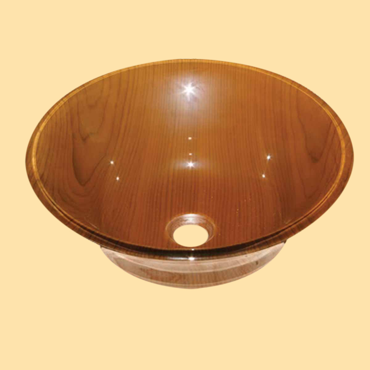 Tempered Glass Vessel Sink With Drain Wood Grain Double