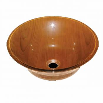 Tempered Glass Vessel Sink with Drain, Wood Grain Double Layer Barrel Bowl Sink 12939grid