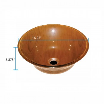 spec-<PRE>Tempered Glass Vessel Sink with Drain, Wood Grain Double Layer Barrel Bowl Sink</PRE>