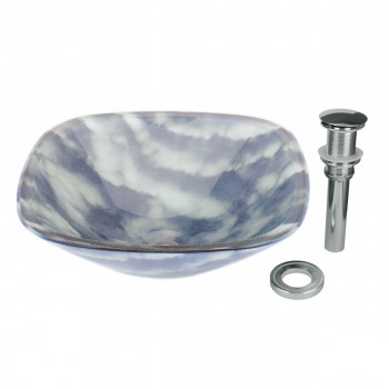 Tempered Glass Vessel Sink with Drain, Blue-White Cloud Design Square Bowl Sink 12949grid