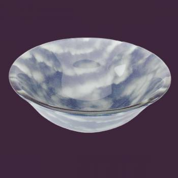 spec-<PRE>Tempered Glass Vessel Sink with Drain, Blue-White Clouds Hat Shape Bowl Sink </PRE>