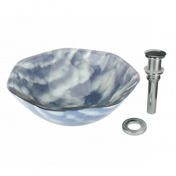 Tempered Glass Hexagon Vessel Sink w/ Drain, Blue-White Cirrus Cloud Bowl Sink 12952grid