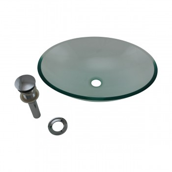 <PRE>Tempered Glass Vessel Sink with Drain, Green Tinted Single Layer Bowl Sink </PRE>zoom5