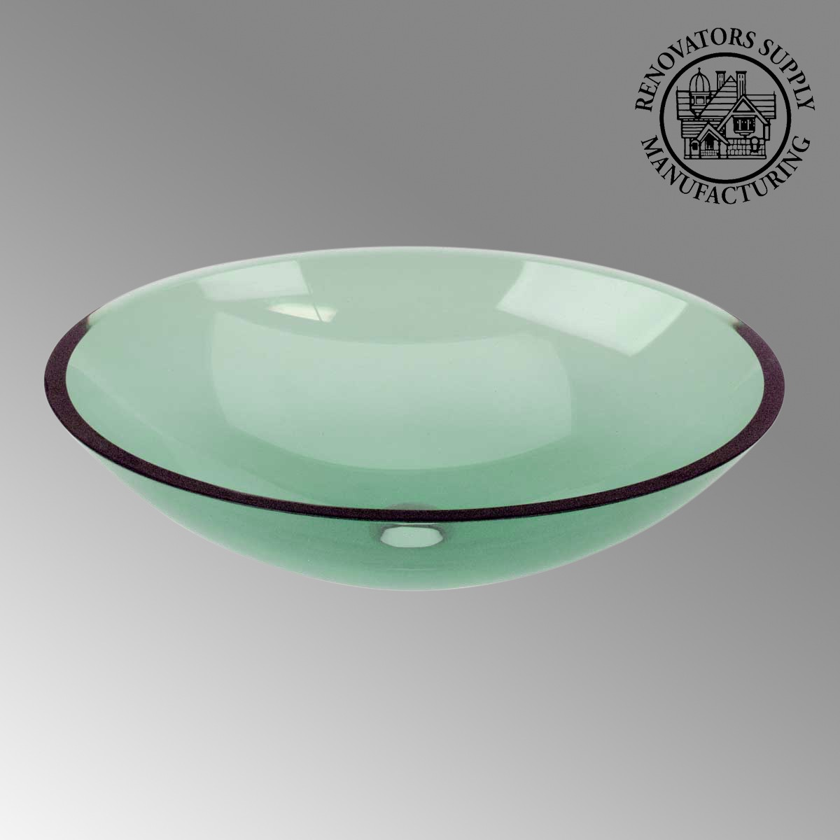 Green Tempered Glass Sink With Drain Single Layer Oval