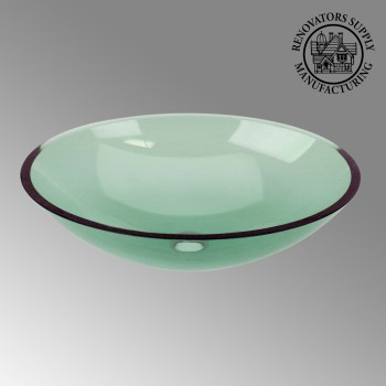 Glass Vessel Sink Tourmaline Green  Oval - Glass sinks, Glass sink info & unique Glass accessories, quantity discounts on Glass sinks, Glass pedestal sinks, Glass wall mount sinks, Glass console sinks, counter top Glass sinks, Glass counter top sinks, Glass pedestal sinks, bathroom fixtures, Glass bathroom sinks, sink faucets & free shipping by Renovator's Supply.