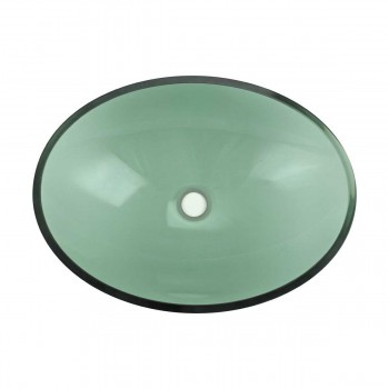 Green Tempered Glass Sink with Drain, Single Layer Oval Bowl Sink bathroom vessel sinks Countertop vessel sink Bathroom Vessel Sink