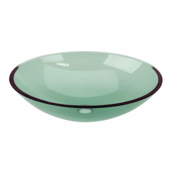 Green Tempered Glass Sink with Drain, Single Layer Oval Bowl Sink 12963grid