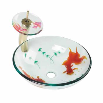 Glass Vessel Sink Painted Koi Fish Tall Brass PVD Faucet
