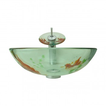 spec-<PRE>Bathroom Glass Vessel Sink Koi Fish Waterfall Faucet Combo </PRE>