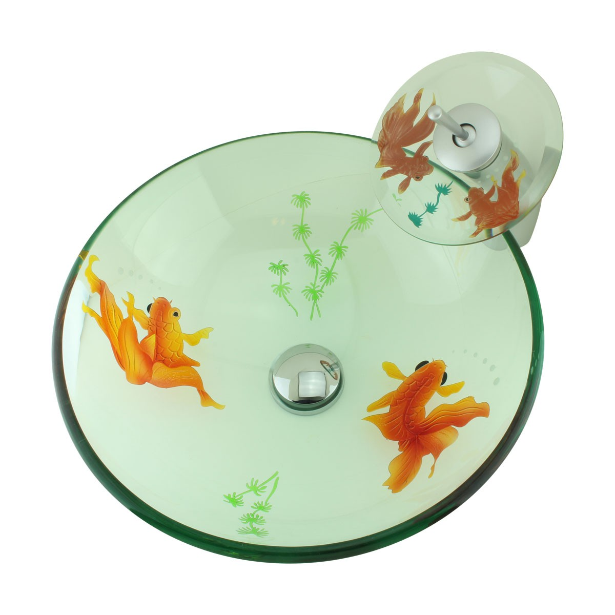 Bathroom Glass Vessel Sink Koi Fish Waterfall Faucet Combo