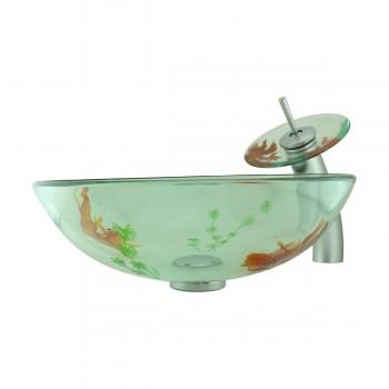 <PRE>Bathroom Glass Vessel Sink Koi Fish Waterfall Faucet Combo </PRE>zoom3